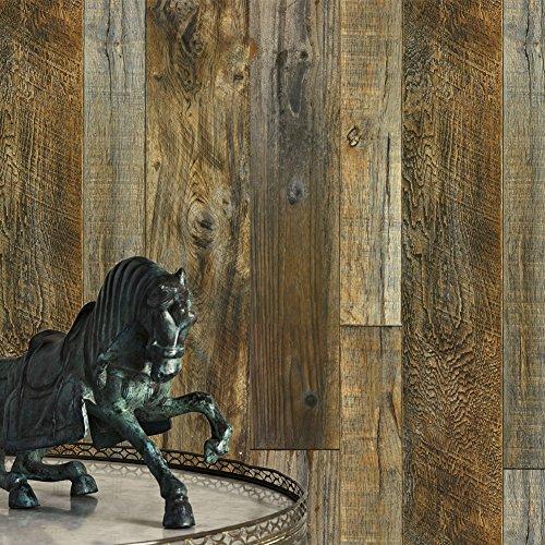 Brown Faux Textur Wallpaper (Original Holz Textur Tapete, Faux Holz Plank Tapete Wandmalereien Home Küche Schlafzimmer Wohnzimmer Dekoration 52,8cm X 31FT yotohome, 2 Yellow/Brown/Tan/Black, 20.8