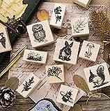 Ruluti 2pc Weinlese-Nette Tier Pflanzen Decoration-Stempel- Holz Stempel FüR Scrapbooking Briefpapier Craft Standardstempel -