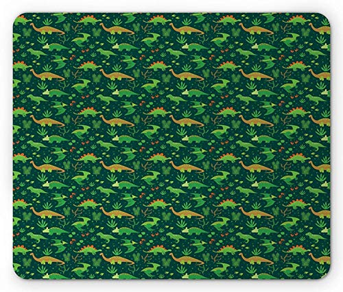 Whecom Dinosaur Gaming Mauspad, Prehistoric Jungle Cartoon Pattern with Various Dino Characters Green Dots Leaves, Standard Size Rectangle Non-Slip Rubber Mousepad, Multicolor 9.8 X 11.8 INCH - 1260 Laser