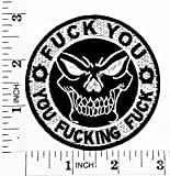 fuck you fucking fuck Ride Hard Core Skull Rider Biker Motorcycle Patch Hand Embroidered Iron-on And Sew-on Symbol Jacket T-shirt Patches Applique Accessories