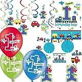 RM/Carpeta® 57-teiliges Dekoset * 1st BIRTHDAY BOY * für den ersten Geburtstag // mit Tischdecke + Raum-Deko Set + Deko-Wirbel + Konfetti + Luftballons // Girl Kind Kindergeburtstag Junge