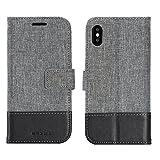 APPLE iPhone X Etui portefeuille sac en simili-cuir textile couverture Téléphone cas pour les cartes de visite et encore fonction (NOIR)