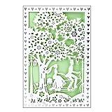Hochzeitskarte, 12 cm x 18 cm, mit Umschlag & hellgrünem Einleger   Laser-Grußkarte für Hochzeit, Vermählung, Paar, Fahrrad, Brautpaar, Romantik