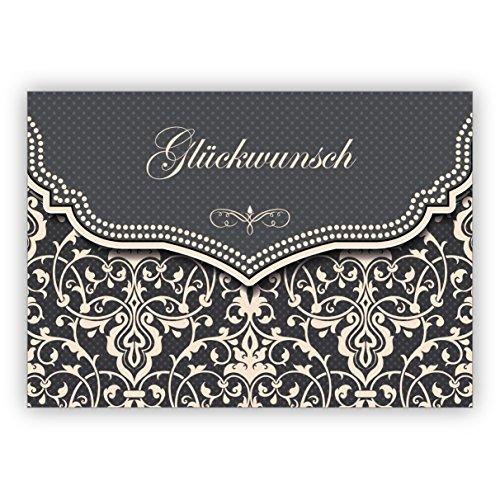 Feine Glückwunschkarte mit Vintage Damast Muster in edlem Grau zur Hochzeit, Taufe, Geburt, Examen etc: Glückwunsch