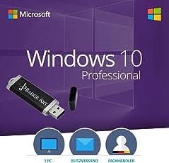 Windows 10 Pro 32 bit & 64 bit Bootable USB-Stick von Badge Art® - Original Lizenzschlüssel