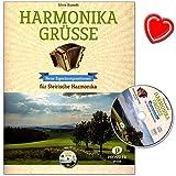 Harmonika Grüsse - 13 neue Eigenkompositionen von Silvia Kumeth für Steirische Harmonika - Walzer, Polka, Marsch ... - Notenbuch mit CD und bunter herzförmiger Notenklammer