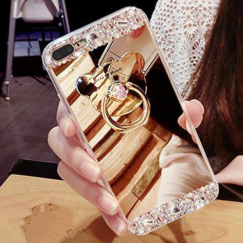 Custodia per iPhone 5 5S,Specchio Custodia Cover per iPhone SE,Leeook Moda Lusso Brillante Diamante Bling Gomma Cellulare Protettiva Case in Oro Riflettente Ultra Sottile Flessibile Anti-Graffio Trucc Orso,Oro