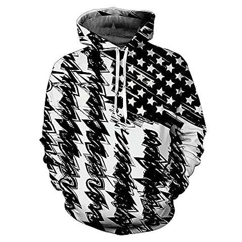 New Fashion Hooded Sweatshirt Männer/Frauen Hooded Sweats 3d Drucken Schwarz Weiß USA-Flagge Unisex Pullover, 17071002, XXL