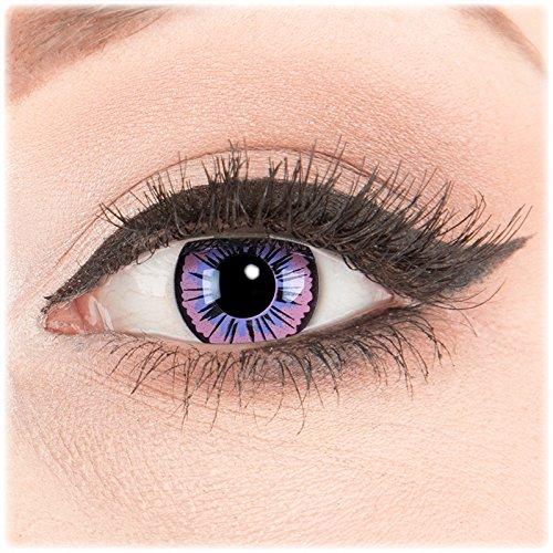 Farbige Kontaktlinsen Color Fun Contact Lenses Motivlinsen Violette Fee. Perfekt zu Fasching, Karneval und Halloween inkl. Behälter und 60 ml Pflegemittel