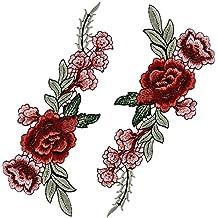 2 piezas Parches Bordados Termoadhesivos Rosa Peonía Flor Coser Decoración de Ropa Bolsos Funda de Almohada Apliques