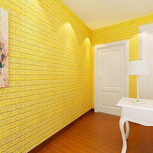 Binggong PET-Schaum-3D Tapete DIY Wand-Aufkleber-Wand-Dekor prägeartiger Ziegelstein Schaum Panel weiche Ziegel Anti-Kollision Wandaufkleber 60 X 60 X 0.8cm (Gelb, 60 X 60 X 0.8cm)