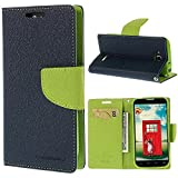 CHL Mercury Fancy Wallet Dairy Flip Case Cover for Xiaomi Redmi 2 / Mi Redmi 2 Prime ( XIAOMI MI2 ) - Blue Green