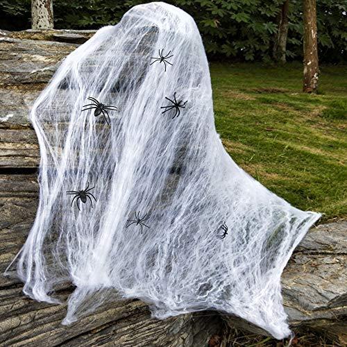 Lictin 52 pcs Decoración de Araña de Halloween-  Juego de Decoración de Fiesta de Halloween, 50 pcs de Araña , 1 Decoración de Tela de Araña Retráctil (200g),  1 Pegatina de Ventana de Mano Sangrienta