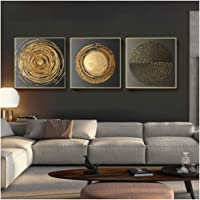 Toile Peinture Abstrait Or Noir Carré Texture Affiches Mur Art Photos pour Salon Décor 40x40 cm Avec cadre Doré