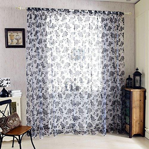 KINLO 145*245 Ösenschal Dekoschal Schlaufenschal Fenster Vorhang 145*245 mit schwarz Pfingstrose Blumen 2pcs