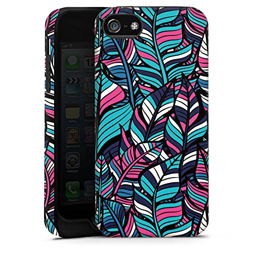 Apple iPhone 6 Tasche Hülle Flip Case Blätter Blumen Muster Tough Case matt