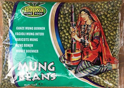 Indianstore24 Bajwa Mungbohnen,poliert, moong whole-500g