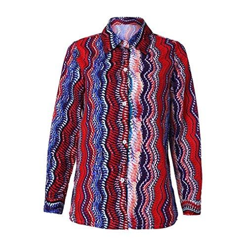 Goosuny Gestreift Bluse Modische Damen V-Ausschnitt Button Gestreifte Blusen Hemd Pullover Sweatshirt Oberteil Langarm Top Shirt Hemdbluse Casual Schlank Tuniken Blusenshirt(Rot,XL) -