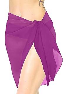 LA LEELA Sciarpa per Face Cover Chiffon Trasparente Sarong Casuale Costumi da Bagno Ragazza Solido