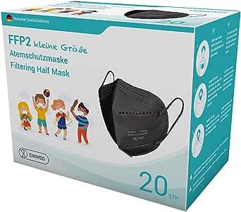 EUROPAPA 20x FFP2 Mini Maske Schwarz Model S in Kleiner Größe Mundschutz Masken Atemschutzmasken 5-lagig hygienisch einzelverpackt EU 2016/425 Staubmaske