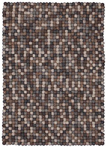 myfelt Néla Filzkugelteppich, rechteckig, Schurwolle, grau/beige/braun, 30 x 50 cm