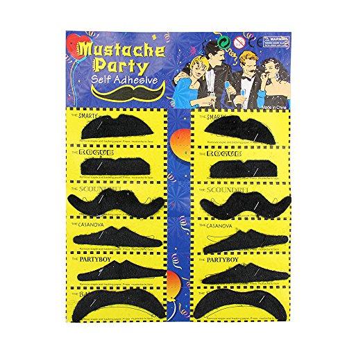 newin (Fake Moustache/Schnurrbart-Set, Geburtstag-, selbstklebend, 12Stück,