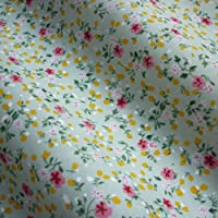 Pale Sage Green Polycotton Fabric with Little Pink Flower Design (Per Metre)