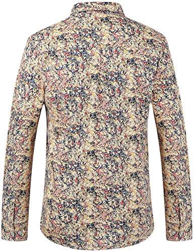 SSLR Herren Casual Normal Fit Button Down Baumwolle Langarm Hemd Mehrfarbig