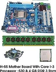 Intel Core I3 540 3.0 GHz + Intel H55 Chipset Motherboard + 4 GB DDR3 DOLGIX (16 CHIP) RAM