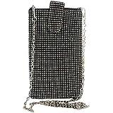 TENDYCOCO Umhängetasche Vertical Cellphone Pouch Bag Mini Crystal für Damen (Schwarz)