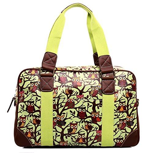 Miss LuLu Modern Schultaschen Cross-Body Tasche Schule Öltuch Handbag Wasserdicht Damen L1106-Eule/Gelb