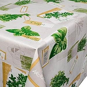 ANRO Wachstuchtischdecke Wachstuch Wachstischdecke Tischdecke abwaschbar Kräuter Grün Beige Bio Basilikum 100 x 140cm