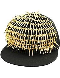 Hip Hop Golden Spike Full Men's, Echtleder, Rock Punk, für Herren Damen, Schwarz, Hip-Hop-Tanz Kappe Mütze
