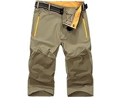 donhobo Mens 3/4 Cargo Shorts Quick Dry Hiking Shorts Lightweight Outdoor Walking Pants