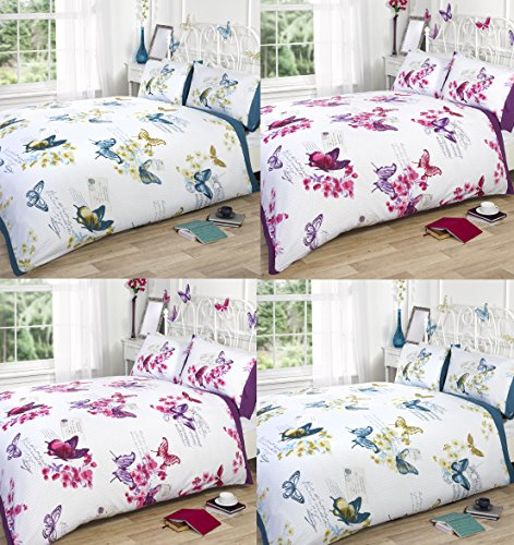 Bedding Heaven, Butterfly DOUBLE BED SIZE DUVET COVER. Pink, Parisian, Postcards, Music Notes