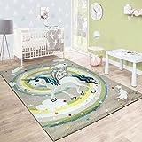 Paco Home Kinderteppich Kinderzimmer Fliegendes Einhorn Regenbogen Sterne Mädchen in Beige, Grösse:80x150 cm