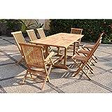 El Sorong Mix-Juego DE mesa y sillas DE jardín madera DE teca maciza: 10-12 personas mesa rectangular, 6 sillas, 2 sillones