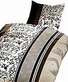 Leonado Vicenti 4 tlg. / 2x2 tlg. Bettwäsche Microfaser 135 x 200 cm gestreift in braun/beige Set mit Reißverschluss