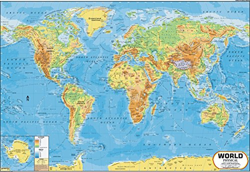 World map physical 100 x 70 cm vidya chitr prakashan this laminated world map is certified by survey of india and has been fully updated to include the latest political changes and contains physical features gumiabroncs Gallery