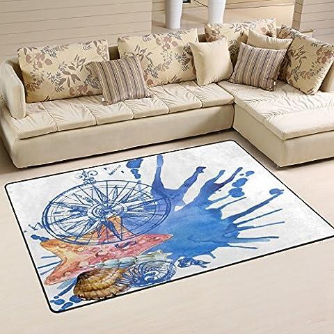 Coosun Seashell Motif nautique Zone Tapis Moquette antidérapant Tapis de sol Paillasson pour salon Chambre à coucher 152,4x 99,1cm, Tissu, multicolore, 2'7