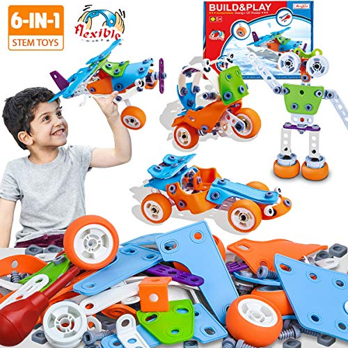 STEM Toys, DIY Construction Building Blocks Vehicles Puzzles, Assembly Engineering Educational Learning Toys, Creative Take Apart Toys for Kids Boys Girls 4 5 6 7 8 9 10+ Years Old (6 in 1 Stem Toys)