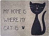 Designer Fussmatte Katze für Haustür, Flur, Innen und Aussen | Fussmatten Rutschfest und waschbar | Praktische Schmutzfangmatte – Fußabtreter | Fussabstreifer – BEIGE SCHWARZ 50 x 70 cm