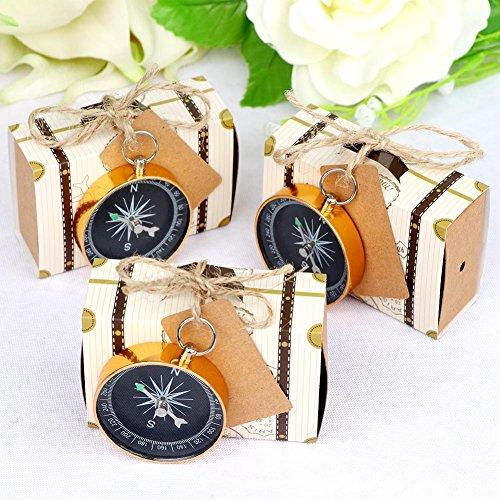 Aerwo, bomboniere per matrimoni, tema viaggio, 50 scatoline per confetti, 50 etichette e 50 bussole