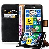 Cadorabo Hülle für Nokia Lumia 625 - Hülle in Graphit SCHWARZ – Handyhülle im Luxury Design mit Kartenfach und Standfunktion - Case Cover Schutzhülle Etui Tasche Book