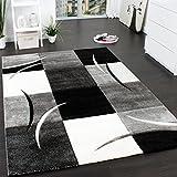 Paco Home Designer Teppich mit Konturenschnitt Muster Kariert in Schwarz Weiss Grau, Grösse:80x300 cm