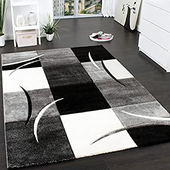 designer rug contour cut geometric pattern black white grey size120x170 - Black And White Rug