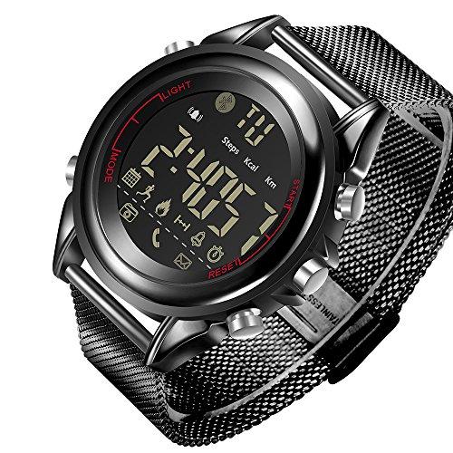 JEISO Herren Smartwatch Edelstahl Uhrenarmbänder Kompatibel Mit Android & iOS Telefonen Schwarz