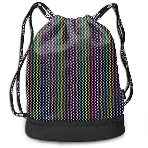 LULABE Printed Drawstring Backpacks Bags,Curved Stripes with Rainbow Colors On A Dark Toned Background Modern Art Design,Adjustable String Closure