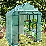 Serre de jardin casa pura® | pour tomates et autres plantes | 12 ou 18 tablettes, corde et piquets inclus | résistant aux intempéries, stabilisé UV | Nostalgia - 18 tablettes (143x214x196cm)