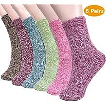 Emooqi Calcetines de Lana, Calcetines de Lana Cálidos de Confort Casual de Mujer de Invierno